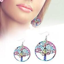 Bohemian Round Drop Dangle Earrings Lucky Tree Stud Fashion Jewelry Colorful  SP