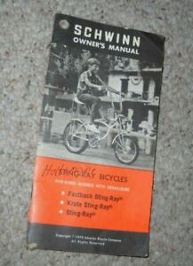Schwinn Owners Manual Sting-Ray Bicycles 1970 Krate