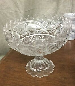 """Heavy 8-1/2"""" Footed Crystal Center Bowl w/ Frosted Floral Design"""