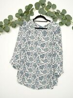 FLEUR BLEUE Blouse Women's Top Long Sleeve Floral White And Blue Size 2X
