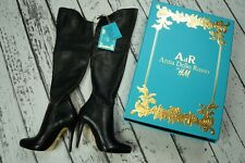 ANNA DELLO RUSSO H&M Black Leather The Knee Stiefel Overknees Boots EUR 36 US5 3