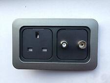 Caravan C-Line 13Amp Socket,TV,Satellite,Backbox, 2 Way Faceplate Complete CBE