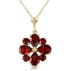 Genuine Natural Garnet Gemstone Floral Pendant 14K Solid Gold Necklace