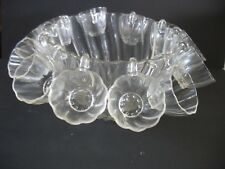 VINTAGE WAVY SCALLOPED GLASS PUNCH BOWL , LADLE & 12 CUPS Styson 1952
