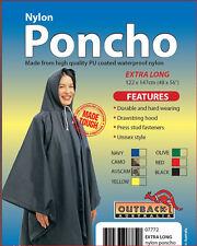 OUTBACK Waterproof Poncho Extra Long Heavy Duty Nylon OLIVE GREEN