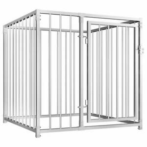Dog Kennel Outdoor Heavy Duty Safety Steel Lockable Cage Shelter 100x100x100 cm