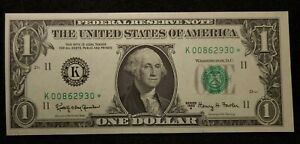 1963 $1 Star Note Uncirculated low number   00862930* small errors crisp