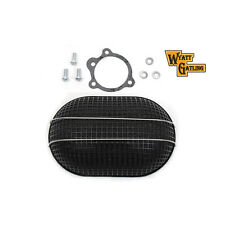 V-Twin Black Turbo Oval Mesh Air Cleaner Bendix-Keihin Butterfly Carbs Harley
