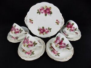 Fiona: Vintage Shabby Chic 13 Piece Regency China Tea Set with Cake Plate