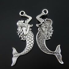 10X 76*21*4mm Vintage Silver Grace Mermaid Look Alloy Handmade Necklace Pendant