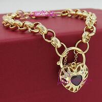 Solid 9k Yellow Gold GF Bracelet Bangle Chain Clasp Padlock Imitate Ruby Diamond