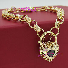 Solid 9k Yellow Gold GF Bracelet Bangle Chain Clasp Padlock Imitate Ruby Diamond