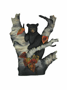 Hand Carved Wooden Bear On Birch Tree Hanging Wall Art Cabin Lodge Style Decor
