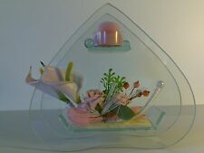 Clove shape Glass Tea light Candle Holder Pink Tulips,Roses,Heart Gift Wedding*2