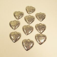10 PC Embossed Puffy Heart Shiny Silver Color Charms Pendants Wholesale Bulk Lot