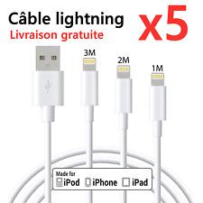 CABLE POUR APPLE IPHONE X/XR/11/PRO/7/8/6/SE 1M/2M/3M CABLE USB BLANC Lot 1-5