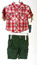 Oshkosh Boys Plaid Red Shirt & Dark Green Shorts Set Outfit Size Nb New