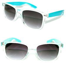 Men's Women's Wayfarer Sunglasses clear blue frame black Lens Retro Vintage