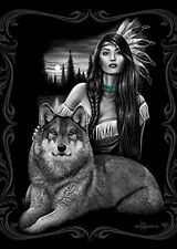 DGA Day of the Dead Art Harmony Wolf Queen Size Soft Plush Blanket Native Woman