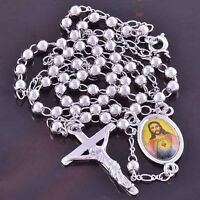 24'' Womens Mens White Gold Plated Jesus Cross Pendant Long Chain Necklace