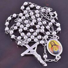 24'' Womens Mens White Gold Filled Jesus Cross Pendant Long Chain Necklace