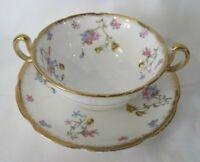 Royal Stafford Violets Pompadour Bone China Cream Soup & Saucer England 1914-40