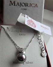 Majorica Grey Pearl 9mm & Clear CZ Sterling Silver Necklace 38cm 4cm Boxed