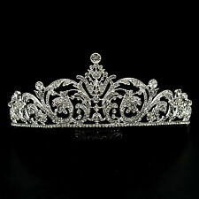 Gorgeous Clear Austrian Crystal Rhinestone Tiara Crown Bridal Party Pageant 5591