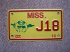 2016 Mississippi Shriners motorcycle license plate .060 grams