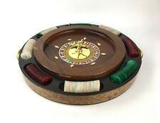 """14"""" Deluxe Wooden Roulette Wheel w/ Poker Chip Tray"""