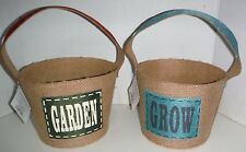 2 New Garden & Grow Burlap Buckets Flower Pot Decor