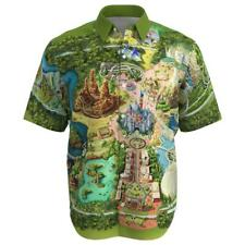 Disneyland Colorful Map Disney Inspire Men Short Sleeve Button Shirt Size XS-3XL