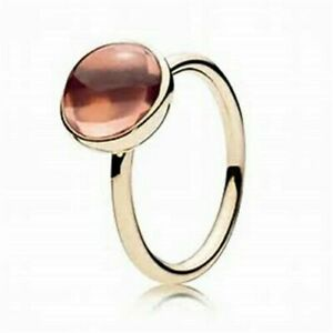 NEW Genuine Pandora 14ct Gold Ring 150185NPB Blush Pink Poetic Droplet With Box