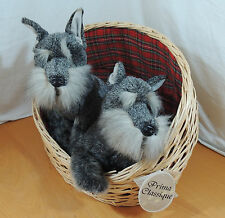 Plush Prima Classique Schnauzer Dogs Wicker Basket New with tags