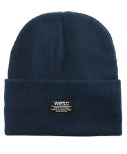 WeSC Brand Puncho Ribbed Cuffed Navy Blue Knit Winter Hat Beanie Toque