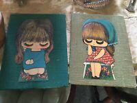 2 Vtg Retro Art Original by SCHLEGEL CARTOON GIRLS ON BURLAP