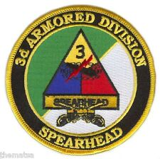 "ARMY 3RD ARMORED SPEARHEAD DIVISION  4"" EMBROIDERED MILITARY  PATCH"
