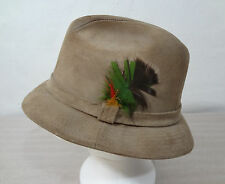 Stetson Mens Size 7 Beige Suede Fedora Hat Made in USA
