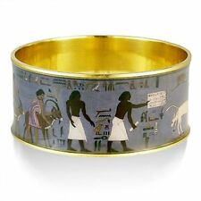 "Egyptian Scenes on Bangle Bracelet in Gold-Plated Brass 1-1/4 High x 2.5""  Dia."