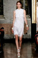 EMILIO PUCCI-  2.6K - UK 6-8 WHITE DRAGON EMBROIDERY DRESS-SHORT- WEDDING RUNWAY