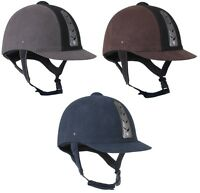 Horka Adults Safety VENTILATED Horse Riding Helmet Hawk Suede VG1 50-55cm