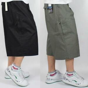 Mens Summer Loose Cargo Classic Baggy Fat Short Cropped Casual Oversize Pants