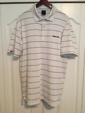 ⛳ DUNNING GOLF White/Navy Blue Stripe GOLF/POLO SHIRT-Mens Large-L -ISLEWORTH ⛳