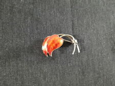 Norway Norwegian Orange enamel Double Leaf Leaves Pin Sterling Silver Modernist