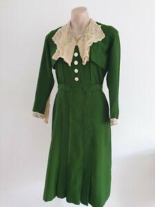 Stunning 1930's 40's Original vintage lace trim Green dress  size 8-10 S