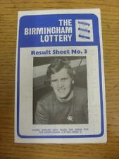 15/10/1973 Birmingham City: The Birmingham Lottery - Result Sheet No.3, Four Pag