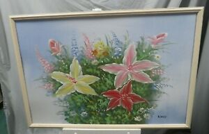"""Signed K. Dossi Oil Acrylic Painting On Board Still Life Flowers 38""""L x 26""""W"""