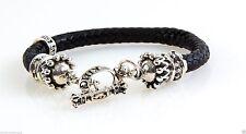 King Baby Studio Sterling Silver Round Braided Leather Bracelet w/Crown K42-5183