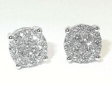 18CT HALLMARKED WHITE GOLD 0.50CT G SI1 BRILLIANT CUT CLUSTER 5MM STUD EARRINGS