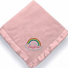 personalized baby girl rainbow blanket ~ Embroidered Baby girl rainbow blanket